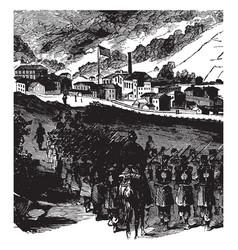 Federal troops at grafton west virginia vintage vector