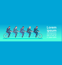 Group of business people riding tandem bicycle vector