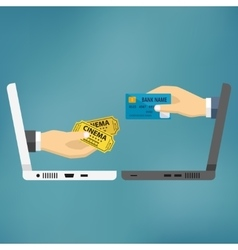 Hands with credit card and cinema tickets vector image vector image