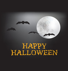 happy halloween card with moon and bats vector image vector image
