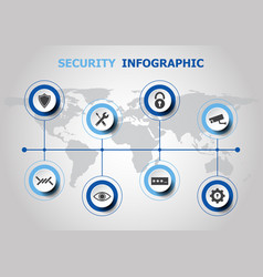 Infographic design with security icons vector