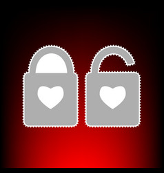 lock sign with heart shape a simple silhouette of vector image vector image