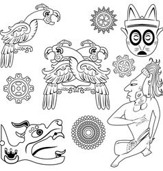 Mayan ornanents with warrior small vector image vector image