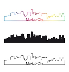 Mexico city skyline linear style with rainbow vector