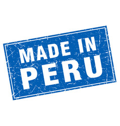Peru blue square grunge made in stamp vector