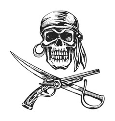 Pirate skull bandanna vector