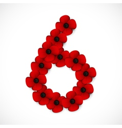 Poppies number six vector