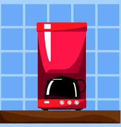 Red coffee machine with black pot vector