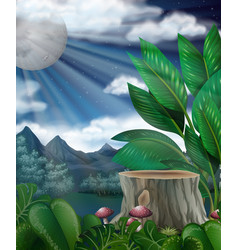 Scene with fullmoon over the forest vector