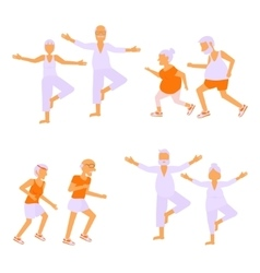 Set of elderly people doing exercises vector