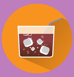 Soda pop drink glass with ice cubes vector image