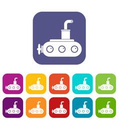 submarine icons set flat vector image vector image