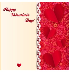 Valentines day lacy card with paper hearts vector image