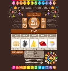 Zinc mineral vitamin supplement food icons vector