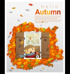 Hello autumn background with little boy 2 vector
