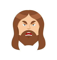 Angry jesus christ unhappy with son of god vector
