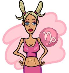 woman cartoon capricorn sign vector image