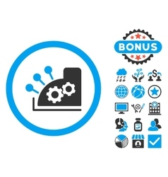 Cash register flat icon with bonus vector