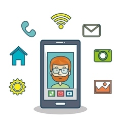 Cartoon smartphone man mobile chat graphic vector