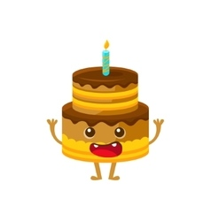 Chocolate birthday cake with candle happy vector