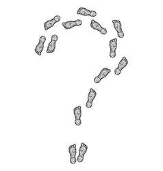 Question mark formed by the footprints vector image