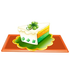 A slice of cake for the celebration of st patricks vector