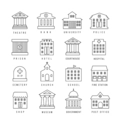 Government buildings lined signs Firehouse and vector image