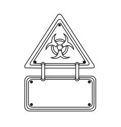 Silhouette metal biohazard warning notice sign vector