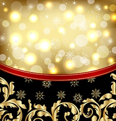 Christmas ornamental golden background or holiday vector