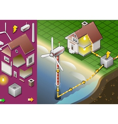 Isometric house with offshore wind turbines vector