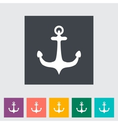 Anchor single flat icon vector