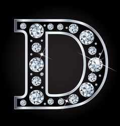 D letter made with diamonds isolated on vector