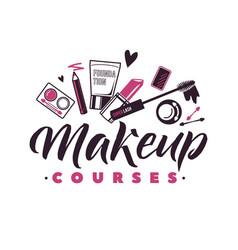 Makeup courses logo of vector