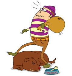 Theif and sleeping dog vector image