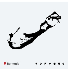 High detailed map of bermuda with navigation pins vector