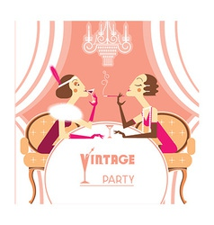 Flapper girls talking on retro party room vector