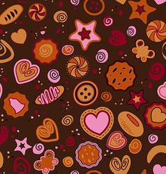 Seamless pattern with sweet pastries vector