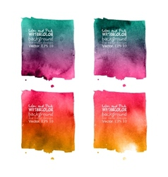 Set of 4 purple painted in watercolor vector