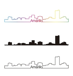 Amarillo skyline linear style with rainbow vector