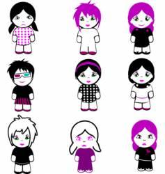 Emo dolls vector