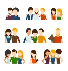 Friends and friendly relations flat icons vector