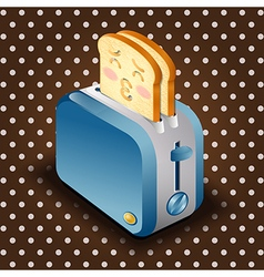 Toaster and sliced bread with face expression vector