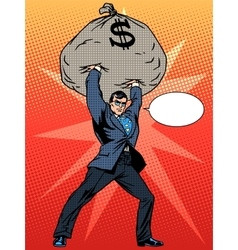 Super businessman hero with a bag of money vector