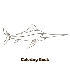 Coloring book swordfish fish cartoon vector