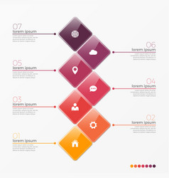 7 option infographic template with squares vector image vector image