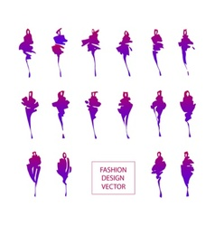 Fashion silhouettes set vector image