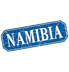 Namibia blue square grunge retro style sign vector