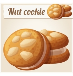 Nut cookie detailed icon vector