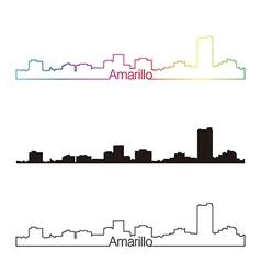 Amarillo skyline linear style with rainbow vector