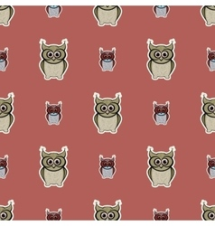 Brown sticker-like owls seamless pattern vector image vector image